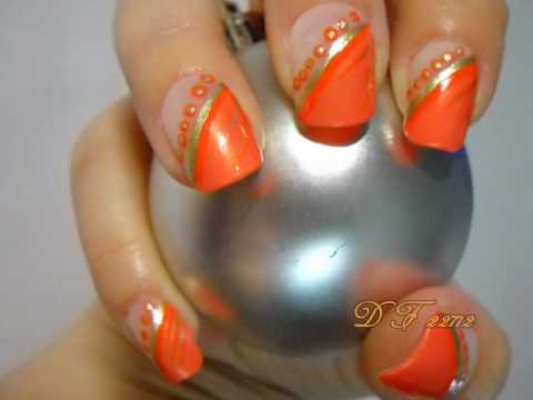 Prom Nail Art Series Orange Youtube