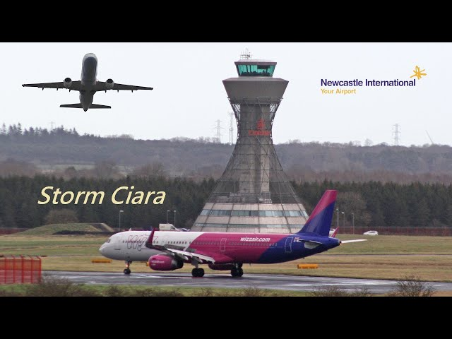 Storm Ciara at Newcastle Airport | Diverted Wizzair A321/Titan B752/Flybe E175
