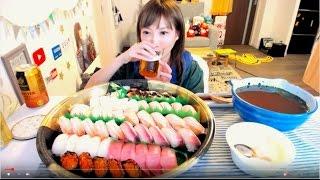 木下ゆうかの晩ごはんライブ![銀のさら]  50貫 中トロ・ハマチ・甘エビ・サーモン・ツブ貝・エンガワ・あなご etc...[MUKBANG] | Yuka [Oogui]Social Eating thumbnail