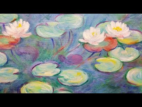 Monet Water Lilies LIVE Acrylic Painting Tutorial