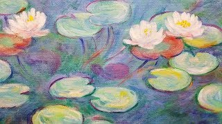 Monet Water Lilies LIVE Acrylic Painting Tutorial thumbnail