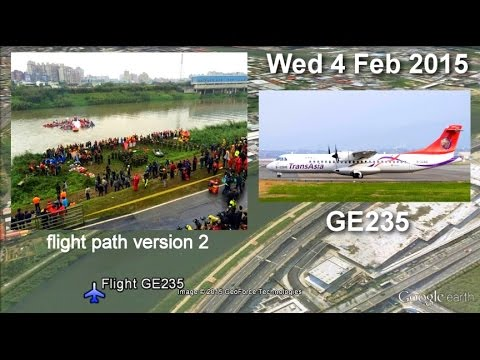 v2 TransAsia Airways GE235 Flightpath Taipei Songshan Keelung River