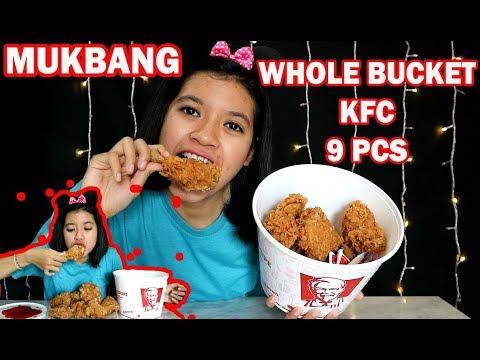 LUDES!! MAKAN WHOLE BUCKET OF KFC 9PCS!! - YouTube