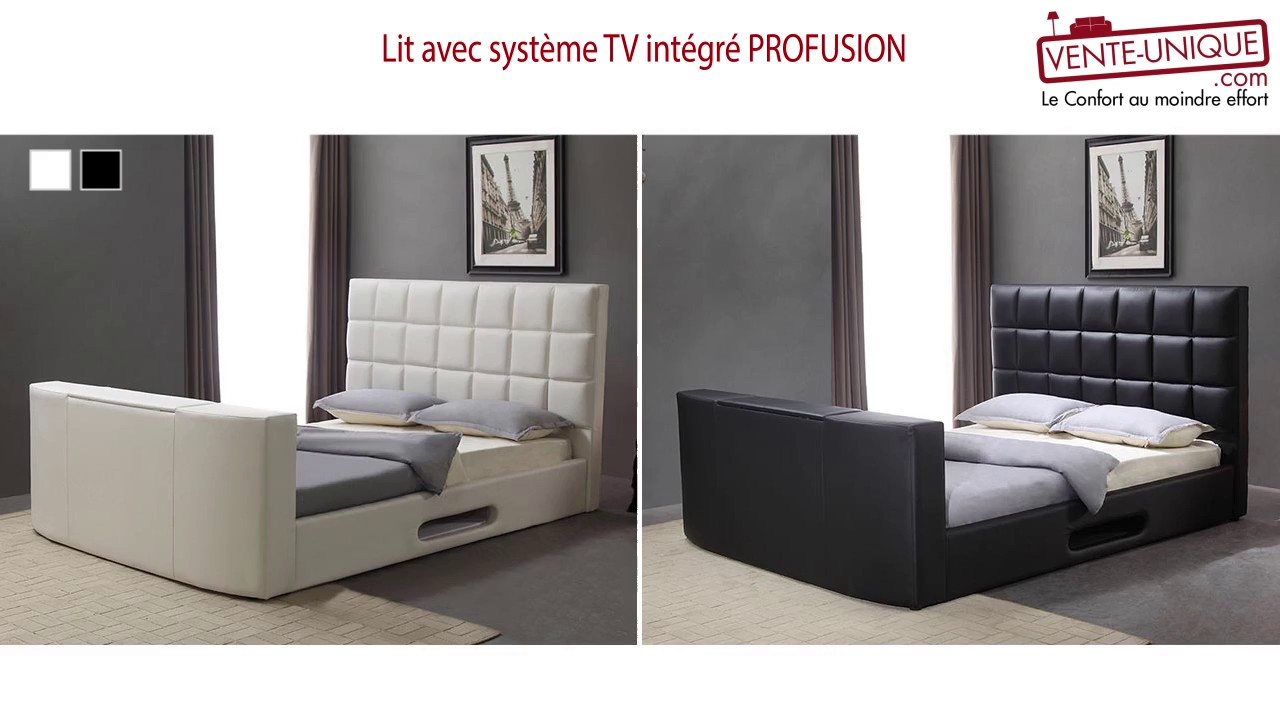 lit avec syst me tv int gr profusion youtube. Black Bedroom Furniture Sets. Home Design Ideas