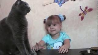 """Кошка есть брокколи. Приколы про животных.  Челлендж """"Накорми кошку"""" Кошка уплетает брокколи,горошек"""