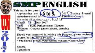 un smp 2017 bahasa inggris, pembahasan no 6, 7, 8, invitation