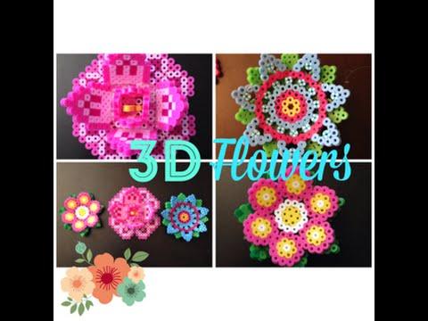 DIY 3D Perler Bead Flowers//2 Different Pretty and Fun Designs ...