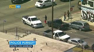 Suspect arrested after slow-speed chase through South LA   ABC7