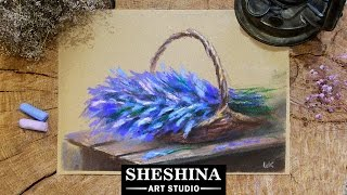 How to draw lavenders in basket with soft pastels 🎨  Flowers