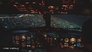 Impresionante vista Ciudad de Mexico de Noche - Boeing 737-200 AICM