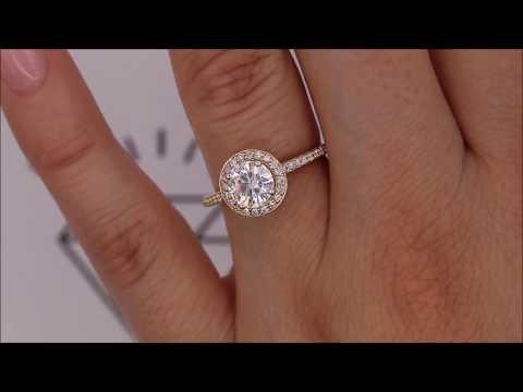 Diamond Halo Petite Band Forever One Center Engagement Ring - London
