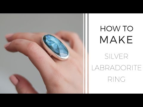 How to make a ring with bezel: SILVER LABRADORITE RING made by hand.