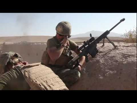 Marine sniper engages Taliban with Barrett M107 .50 cal rifl
