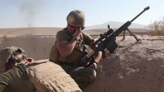 Marine sniper engages enemy with Barrett M107 .50 cal rifle
