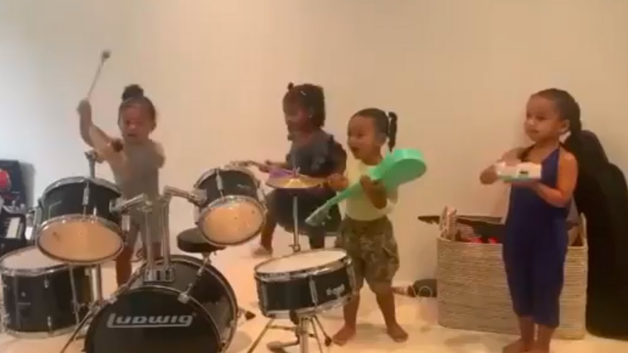 Stormi plays drum with her cousins