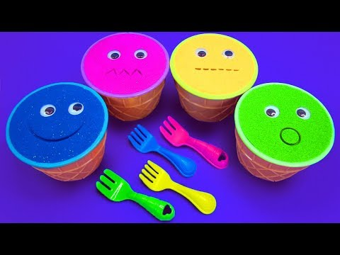 4 Colors Kinetic Sand Ice Cream Cups PJ Mask Vehicles Kinder Surprise Eggs Cars Surprise Toys