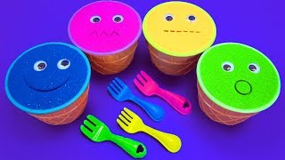 4 Colors Kinetic Sand Ice Cream Cups Pj Mask Vehicles Kinder Surprise Eggs Cars Surprise Toys