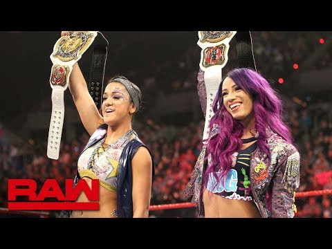 Sasha Banks & Bayley celebrate their WWE Women's Tag Team Championship victory: Raw, Feb. 18, 2019