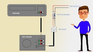 Single Phase split AC indoor outdoor wiring diagram | air conditioning | Earthbondhon