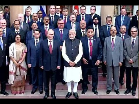 Narendra Modi & Vladimir Putin interacting with CEOs in New Delhi