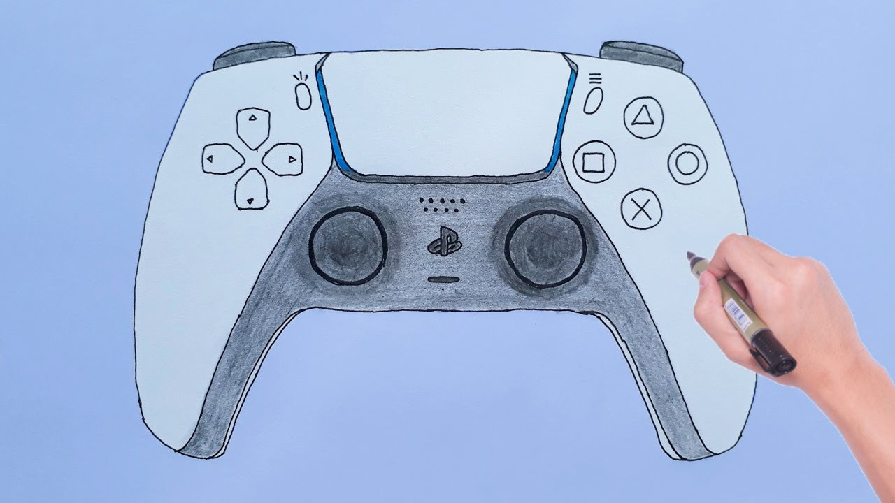 How to Draw PlayStation 5 Controller Sony PS5 - PlayStation 5 Çizimi -  YouTube