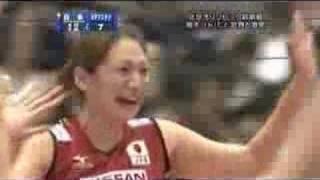 女子バレーボール。2008年ワールドグランプリ 第一戦目。 第1セット ht...