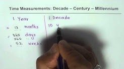 Year Decade Century Millennium Time Measurement Relations