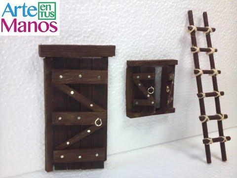 Puerta y Ventana en Miniatura para Belenes