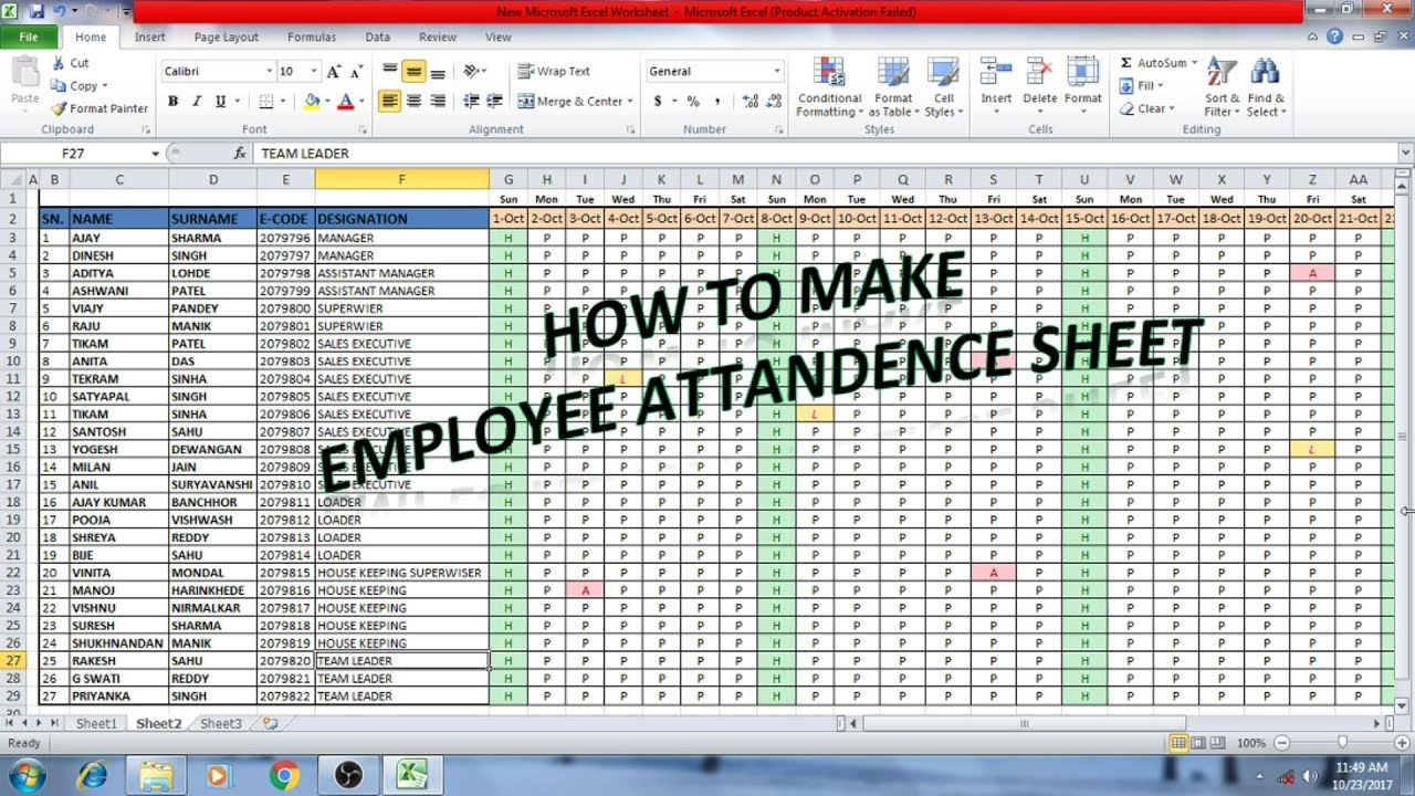 How to make Employee attendance sheet in Excel (Hindi ...