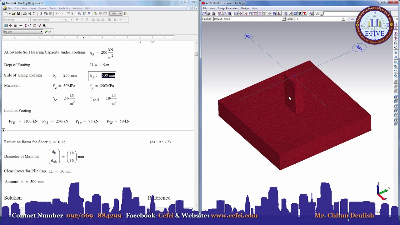AFES 3 0 and Mathcad 15-Footing Design Result Compare