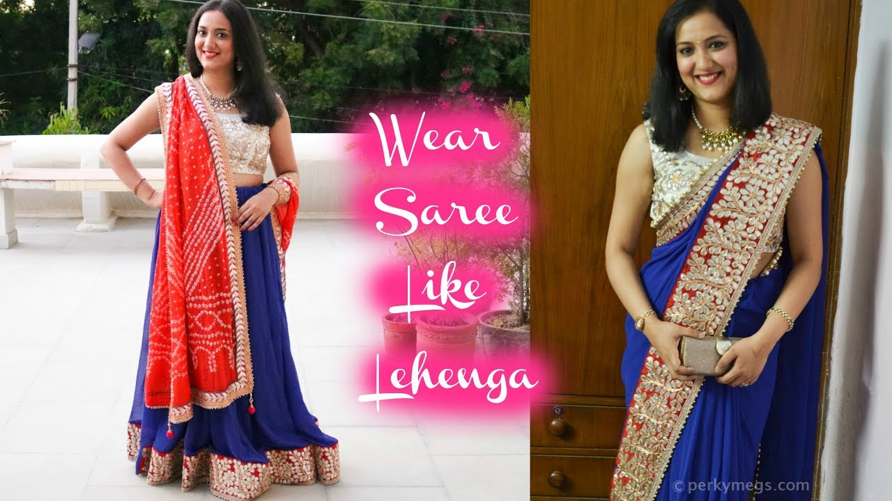 Fashion style How to lengha wear saree for lady
