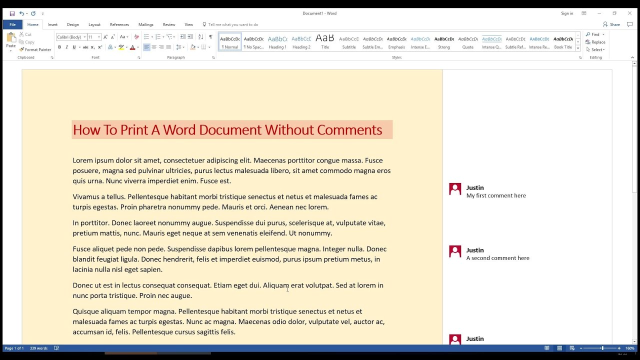 how to print a word document without comments youtube