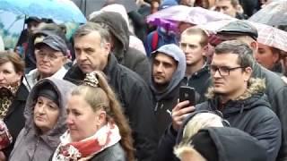 Тысячи людей в Луцке слушали Саакашвили под проливным дождем