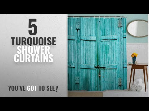 Top 10 Turquoise Shower Curtains [2018]: Goodbath Barn Door Shower Curtain, Waterproof and Mildew