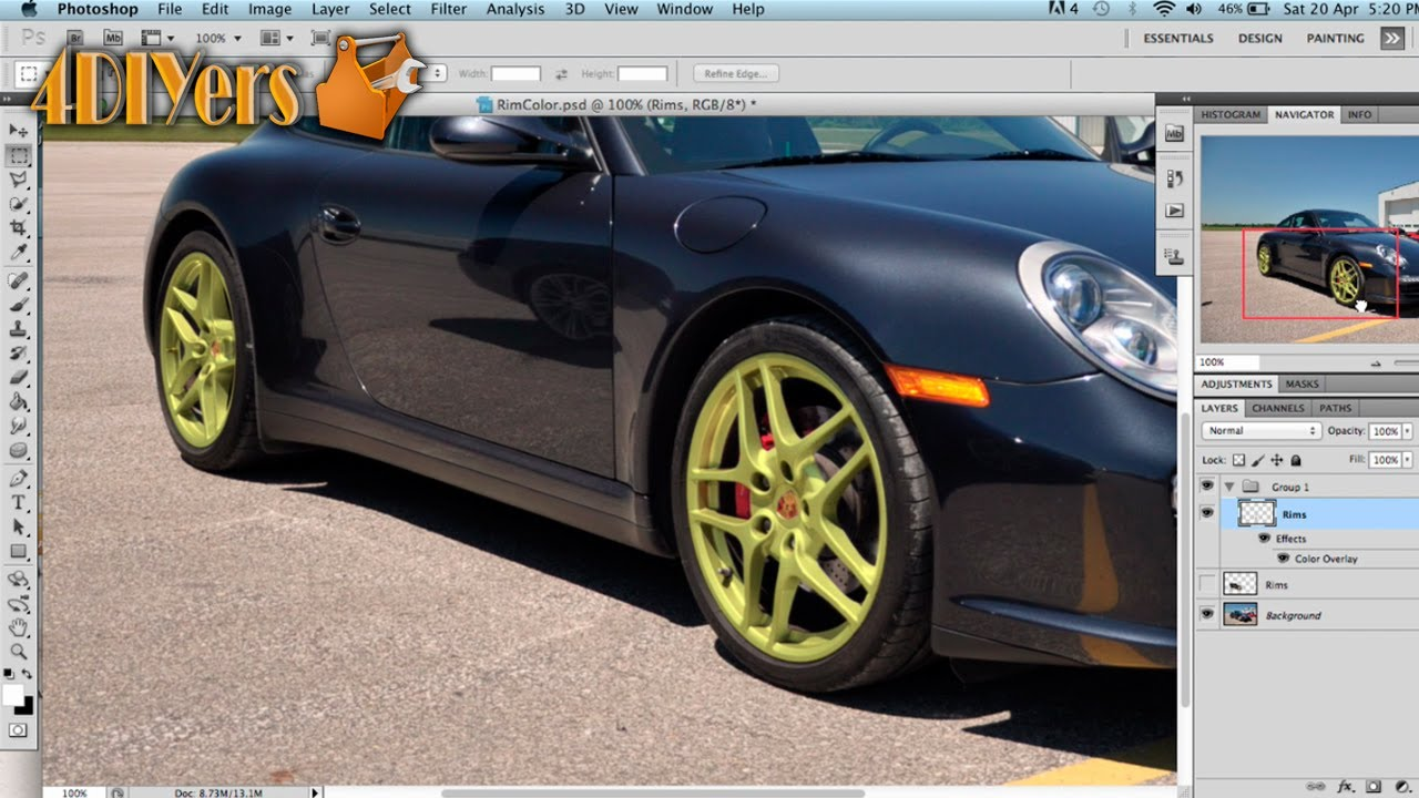 What colour is your car - Adobe Photoshop How To Change The Color Of Wheels On A Vehicle Youtube