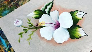 Aprenda Pintar Hibisco Branco
