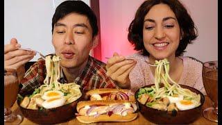 Мукбанг--Лапша с курицей, яйцом. огурцом в соусе терияки/Хот доги-- Кто первый приходит мириться?