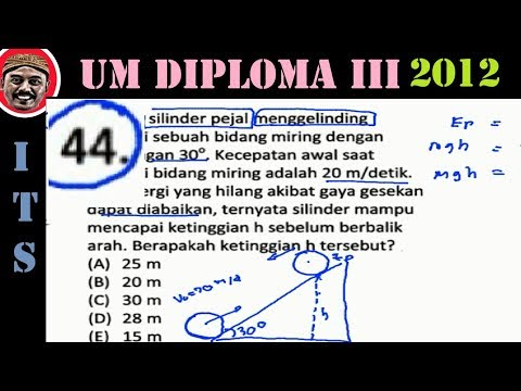 Um Program Diploma Iii D 3 Its 2012 Pembahasaan No 44 Tinggi Maks Silinder Mengelinding Bidang Youtube