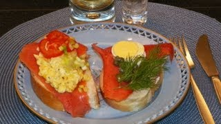 SmØrbrØd Norwegian Smoked Salmon & Egg Open Face Sandwich. Homemade Recipe. Røkt Laks Og æg