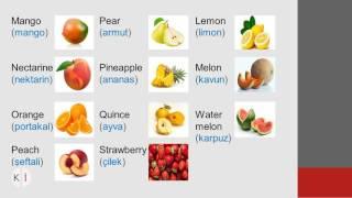 FRUIT AND VEGETABLES (Meyveler ve sebzeler), Lesson (Ders) 3, Kolay ingilizce