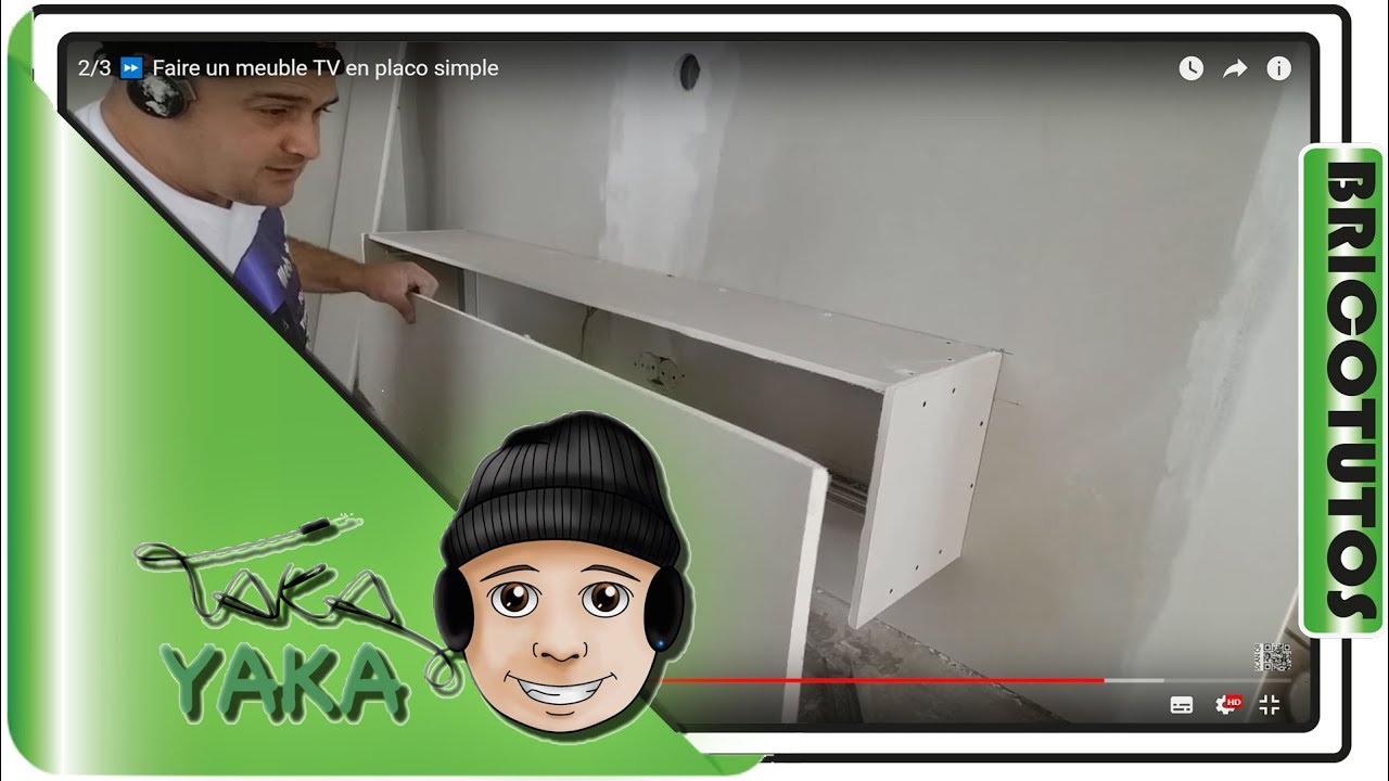 Faire un meuble tv en placo tape 2 3 youtube Meuble pour cacher tv