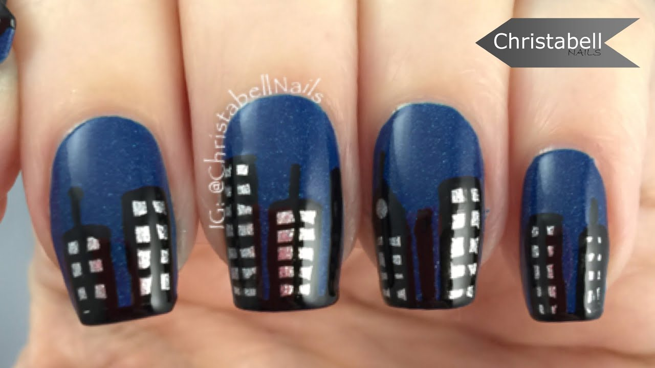 Simple New York Skyline Nail Art Tutorial - YouTube