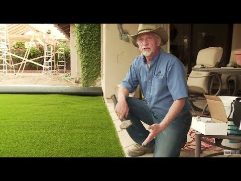 Diy How To Install Artificial Grass On Dirt Youtube