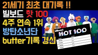 Download [BTS butter] 21세기 최초 대기록!! 빌보드 핫 100 4주 연속 1위 , 방탄소년단 butter가 세운 기록