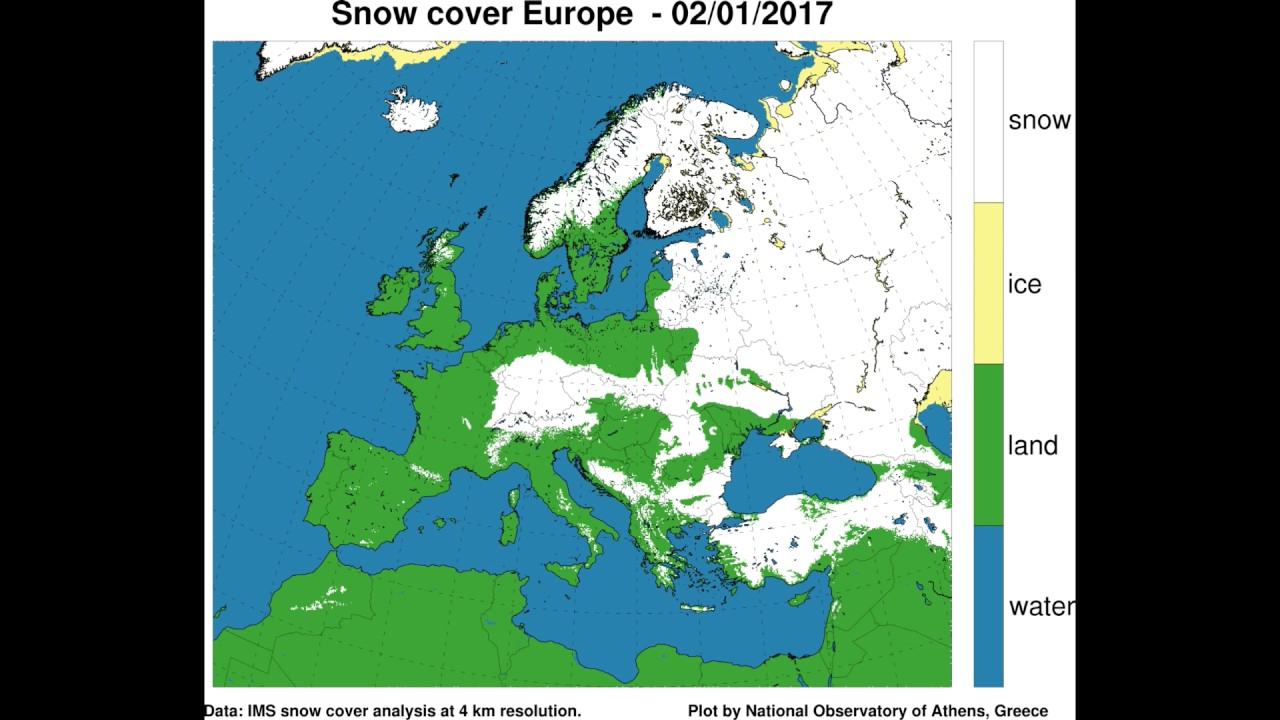 Snow and Ice cover in Europe Dec 2016 - Jan 2017 - YouTube