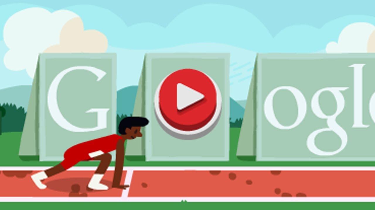 Corre Los 100 M Vallas En El Logo De Google