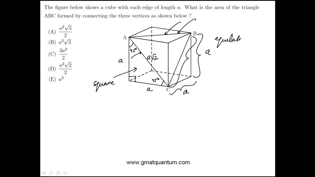 Geometry Problem Solving on Cubes and Triangles: GMAT