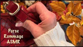 ASMR Purse rummageNo talkingPurse amp wallet sortingleather and vinyl squeezing