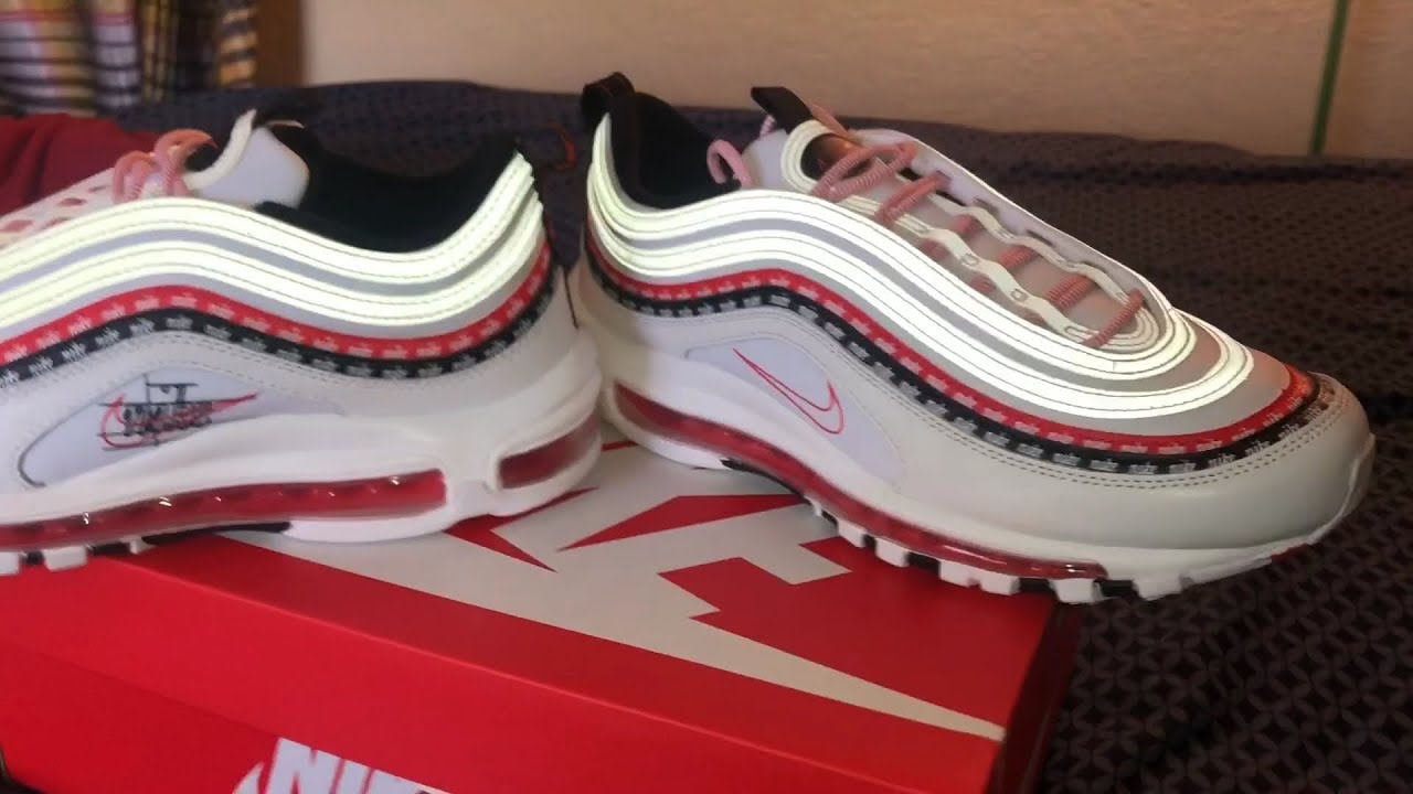 Air Max 97 White Habanero Red White Blue Youtube