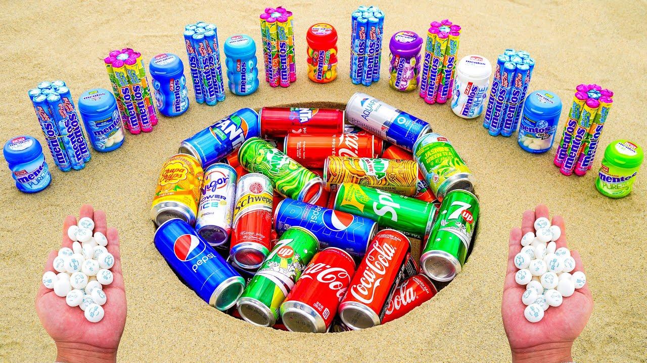 Different Mentos - Experiment Coca Cola, 7up, Sprite, Fanta, Pepsi, Chupa Chups in Underground Hole